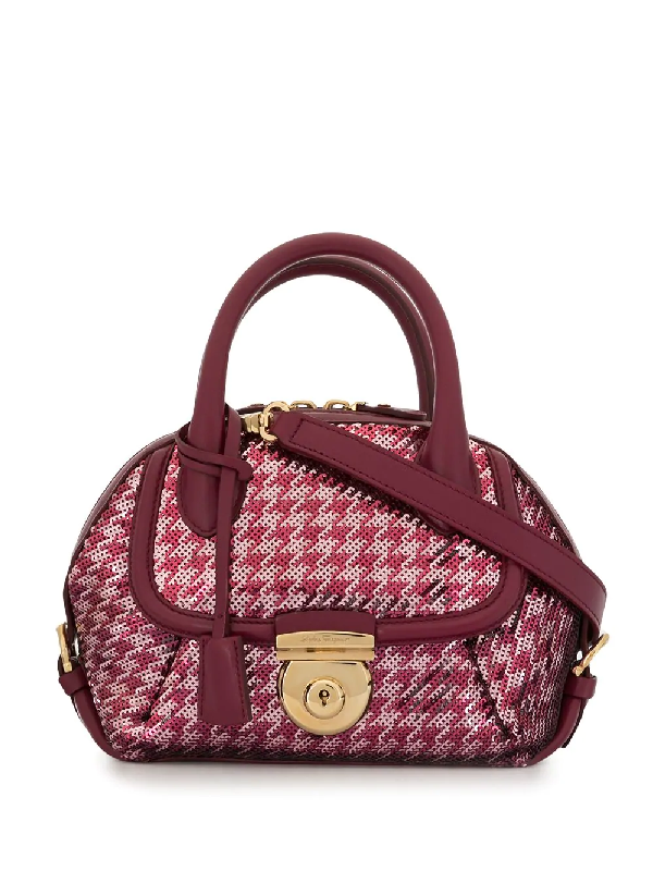 Salvatore Ferragamo 2010s Fiamma Sequin Tote Bag In Pink