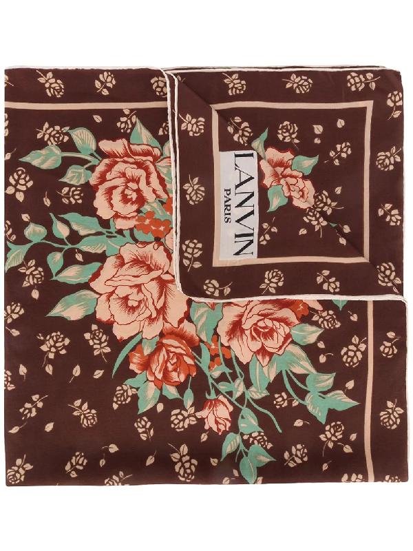 Lanvin 1970s Rose Print Scarf In Brown