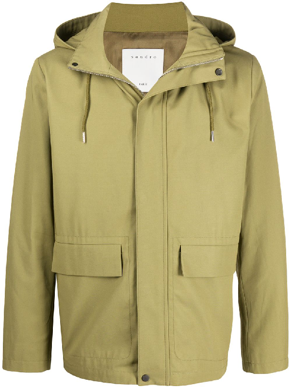 Sandro Hooded Deck Jacket In Green