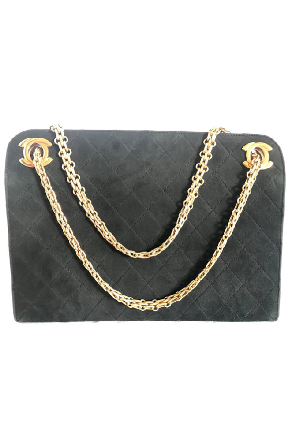 Chanel Suede Leather Shoulder Bag In Grey