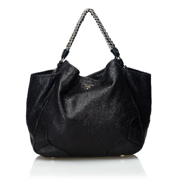 Prada Cervo Lux Chain Tote Bag In Black