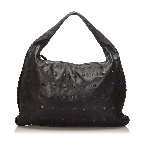 Bottega Veneta Studded Leather Hobo Bag In Black
