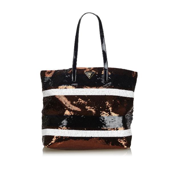 Prada Sequined Tote Bag In Black