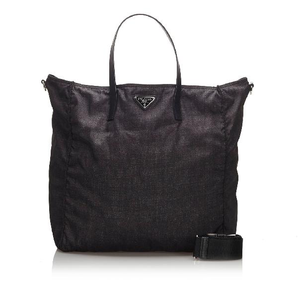 Prada Nylon Tote Bag In Black