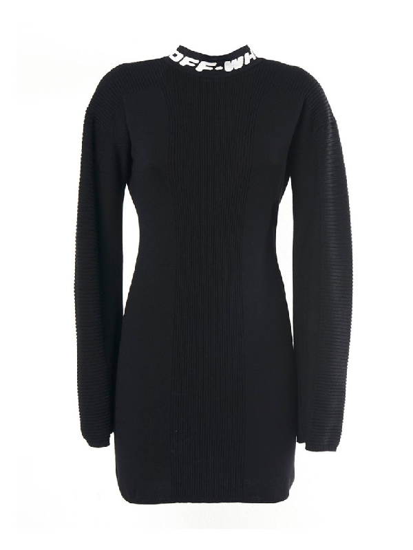 Off-white Industrial Black Stretch-knit Mini Dress