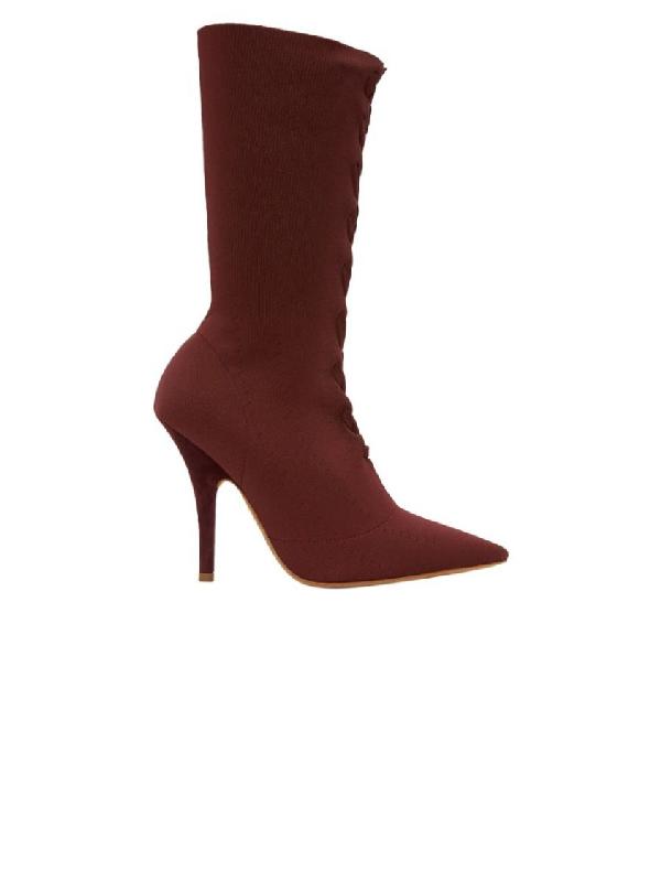 Yeezy Oxblood Knit Sock Boot 110mm In Burgundy