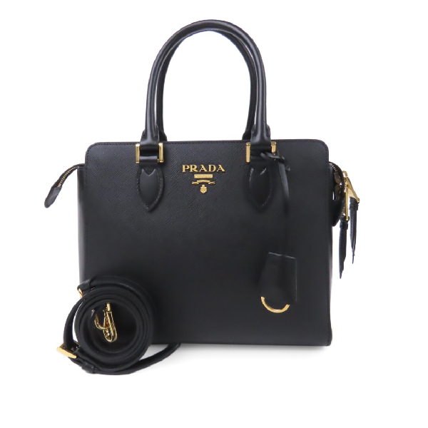 Prada Saffiano Satchel In Black