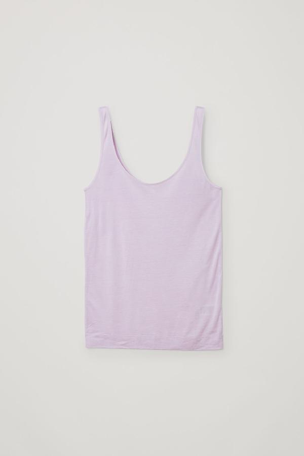 Cos Silk-cotton Vest Top In Pink