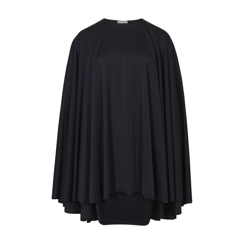 Balenciaga Flip Cape Mini Dress In Black