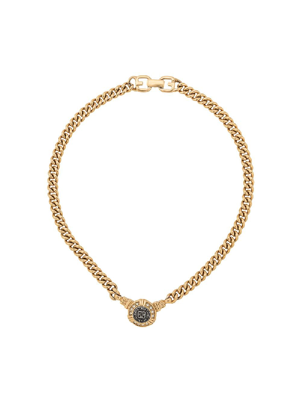 Givenchy 1980s Crystal-embellished Chain Necklace In Gold