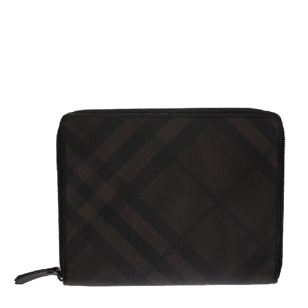 Burberry Brown Smoked Check Coated Canvas And Leather Tablet Ipad 2 Case