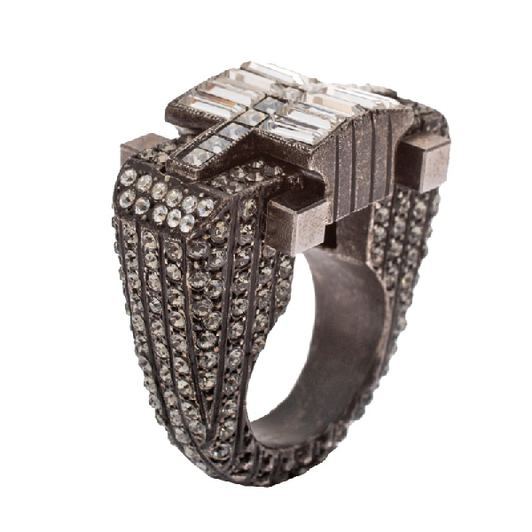 Lanvin Crystal Embellished Black Tone Cocktail Ring Size 54.5 In Metallic