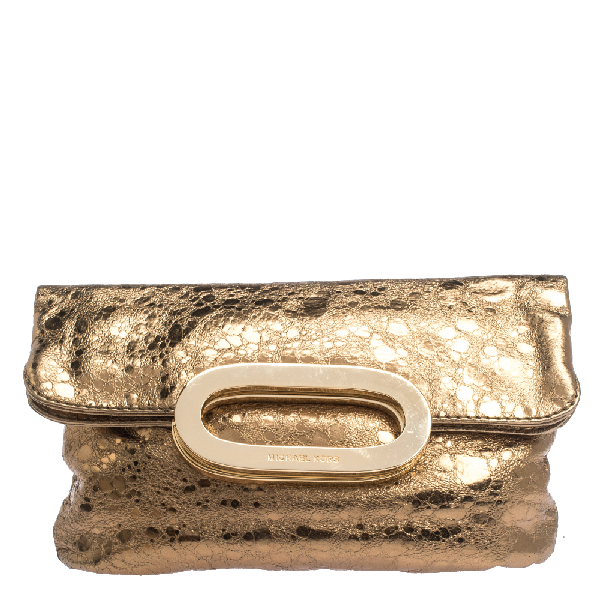 Michael Kors Metallic Gold Leather Fold Over Clutch