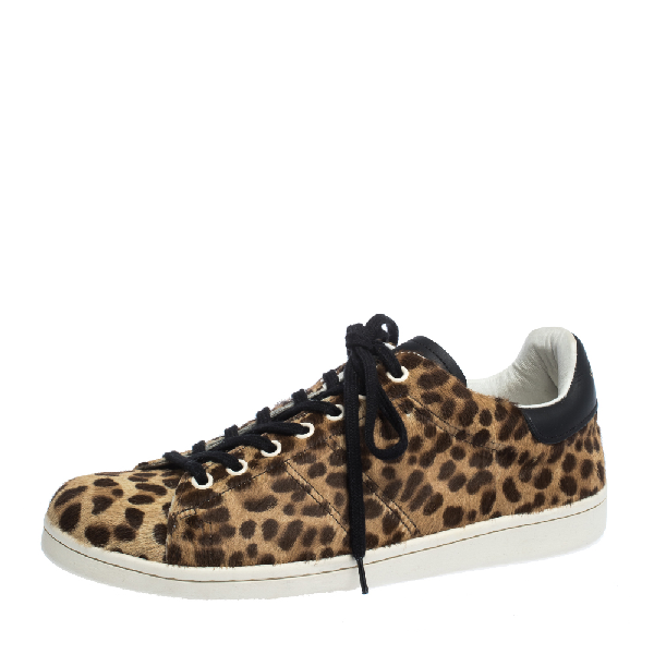 Isabel Marant Brown Leopard Print Calfhair And Leather Low Top Sneakers Size 39