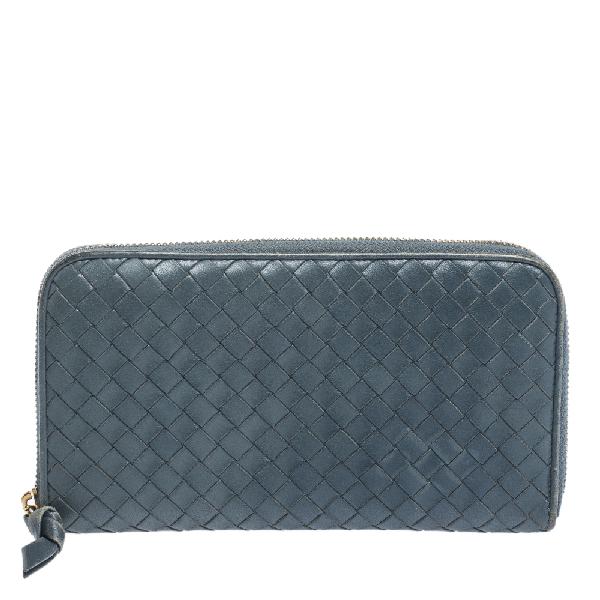 Bottega Veneta Blue Intrecciato Leather Zip Around Wallet