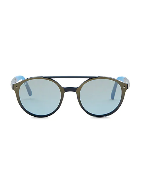 Web Injected 61mm Browlined Round Sunglasses In Blue