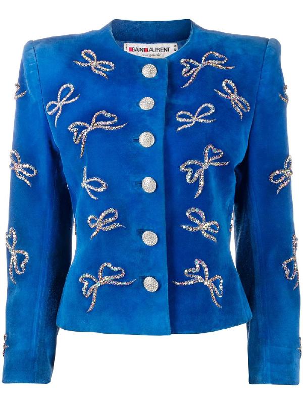 Saint Laurent Rhinestone-bow Embellished Jacket In Blue