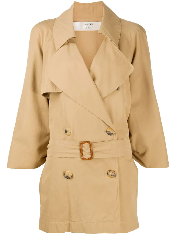 Lanvin Wide Lapels Belted Coat In Neutrals