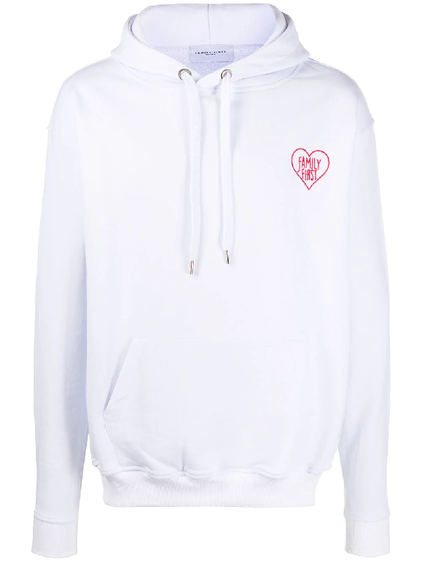 Family First Slogan Drawstring Hoodie In White
