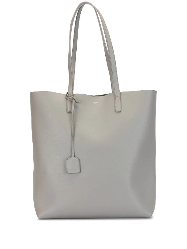 Saint Laurent Leather Shopper Tote Bag In Grey