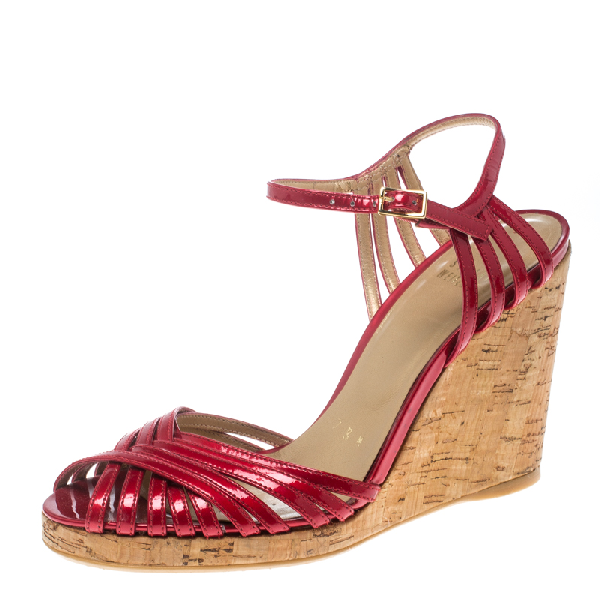 Stuart Weitzman Red Patent Leather Cork Wedge Ankle Strap Platform Sandals Size 38