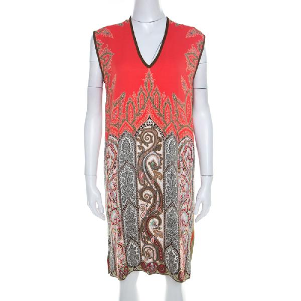 Etro Multicolor Paisley Printed Stretch Crepe Shift Dress M