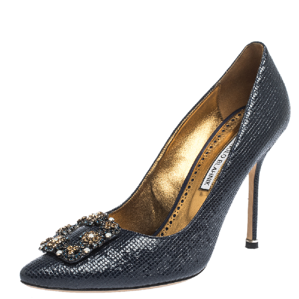 Manolo Blahnik Blue Lizard Embossed Leather Hangisi Pumps Size 39.5