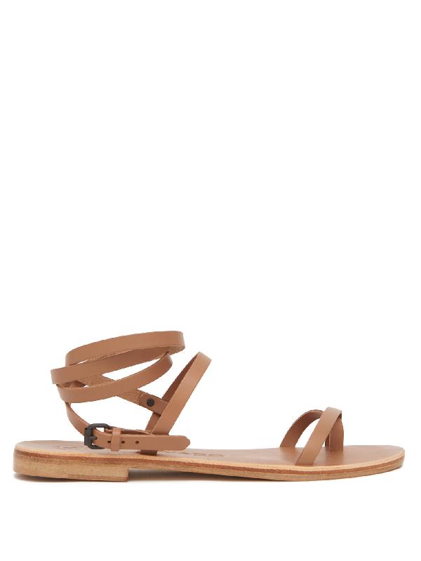 Álvaro González Anna Wraparound Leather Sandals In Tan