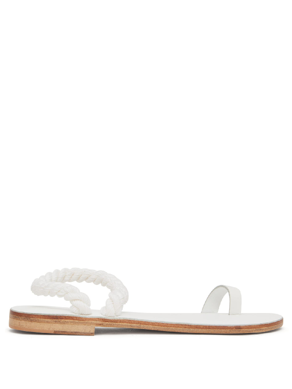 Álvaro González Angela Rope-strap Leather Sandals In White