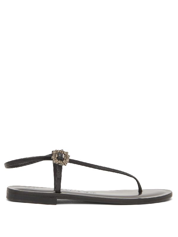 Álvaro González Andreina Crystal-buckle Asymmetric Leather Sandals In Black