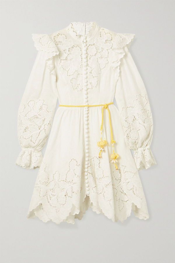 Zimmermann Carnaby Belted Ruffled Broderie Anglaise-trimmed Linen Mini Dress In Ivory