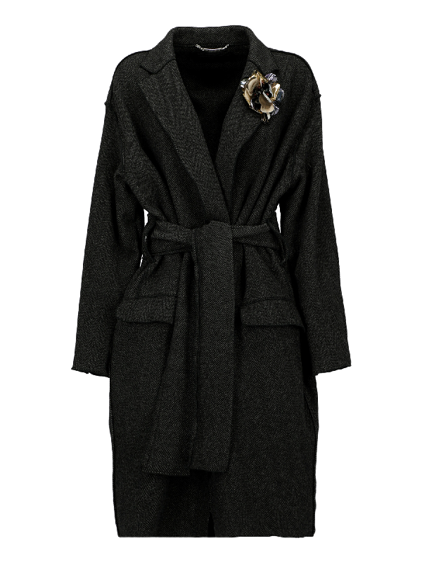 Dolce & Gabbana Single Breasted Coat In Anthracite