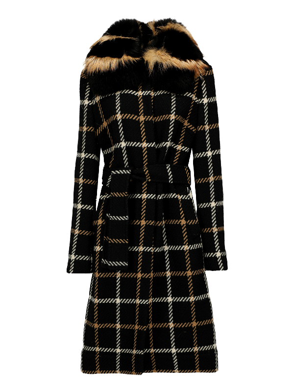 Dolce & Gabbana Single Breasted Coat In Black, Brown, White