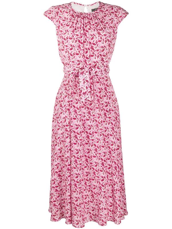 Weekend Max Mara Floral Printed Dress In Pink