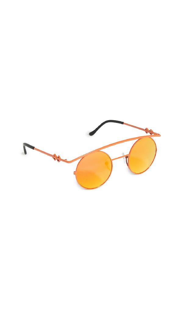 Karen Wazen Retro's Xl Sunglasses In Mirror Orange