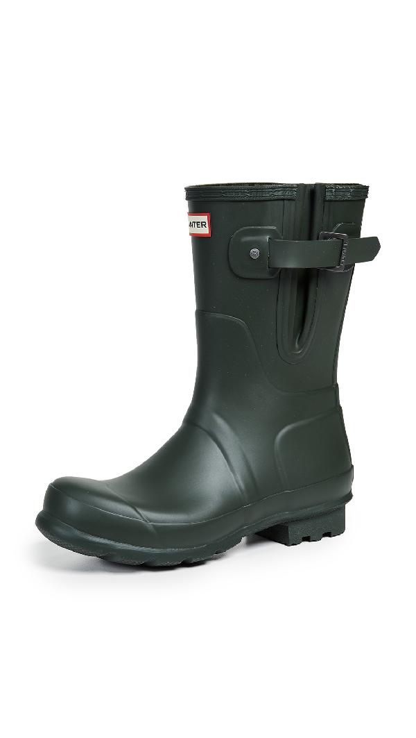 Hunter Original Side Adjustable Short Boots In Dark Olive