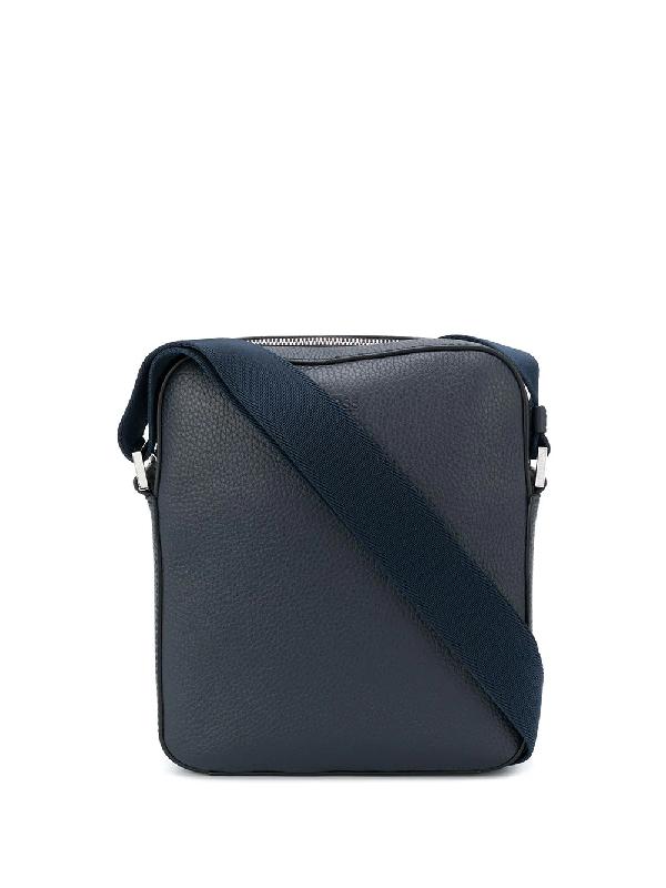 Hugo Boss Logo-debossed Crossbody Bag In Blue