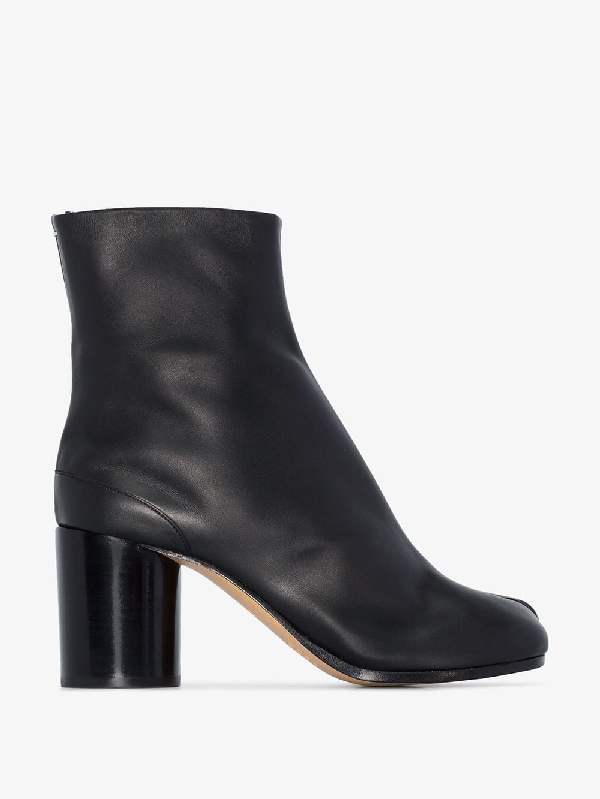Maison Margiela Tabi High Heels Ankle Boots In Black Leather