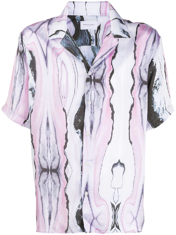 Family First Abstract-print Short-sleeved Shirt In Purple