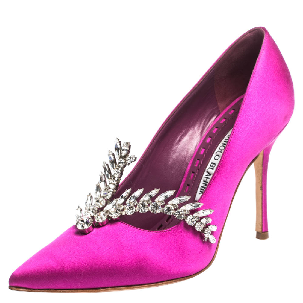 Manolo Blahnik Magenta Satin Jewel Embellished Shufti Pumps Size 37.5 In Purple