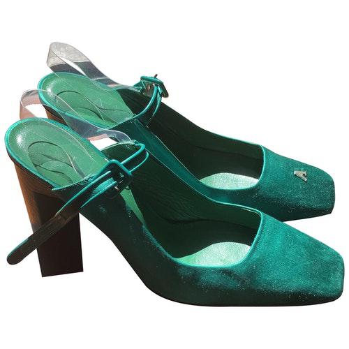 Alyx Green Leather Heels
