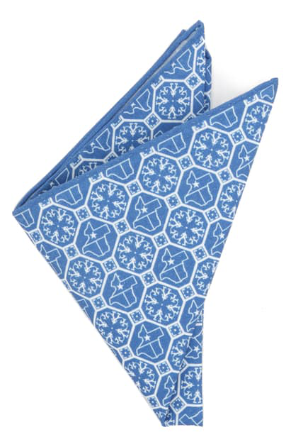 Cufflinks, Inc Texas State Cotton Pocket Square In Blue
