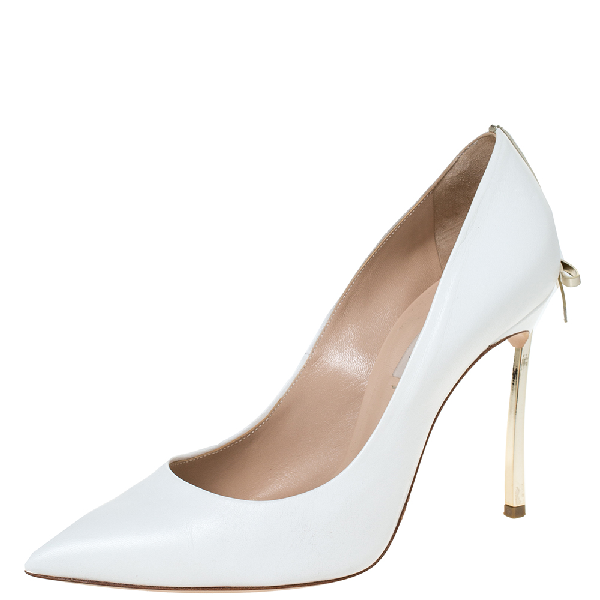 Casadei White Leather Bow Embellished Pointed Toe Pumps Size 37