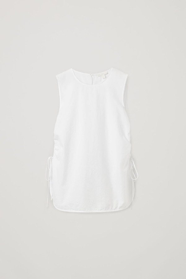 Cos Drawstring Organic Cotton Vest Top In White