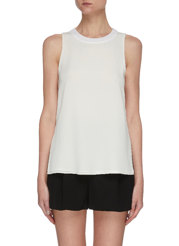 Vince Textured Rib Collar Sleeveless Top In White