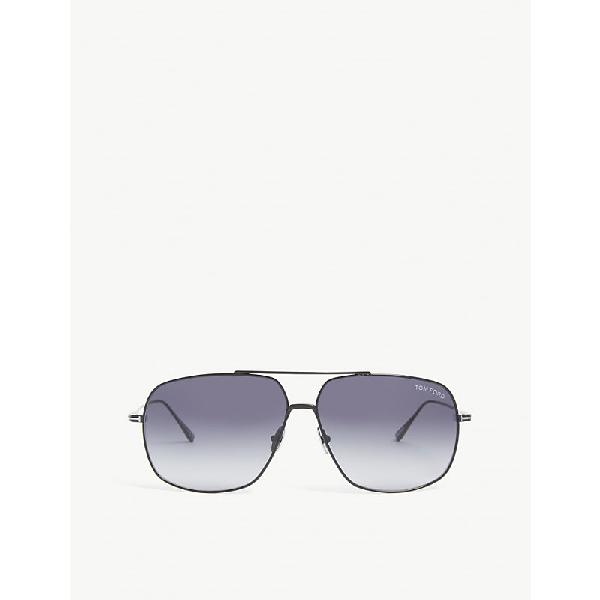 Tom Ford Ft0746 Aviator-frame Sunglasses In Black Blue