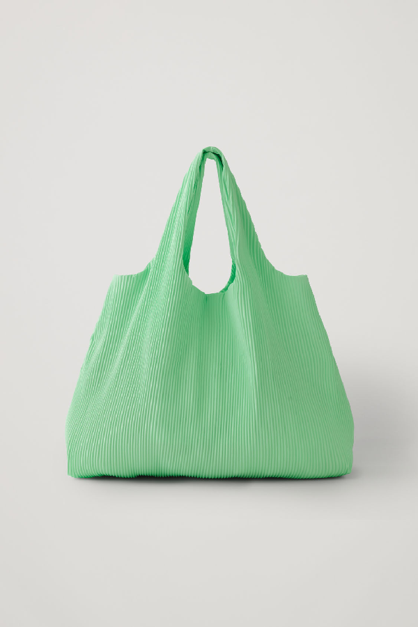 Cos Pleated Fabric Shopper In Green