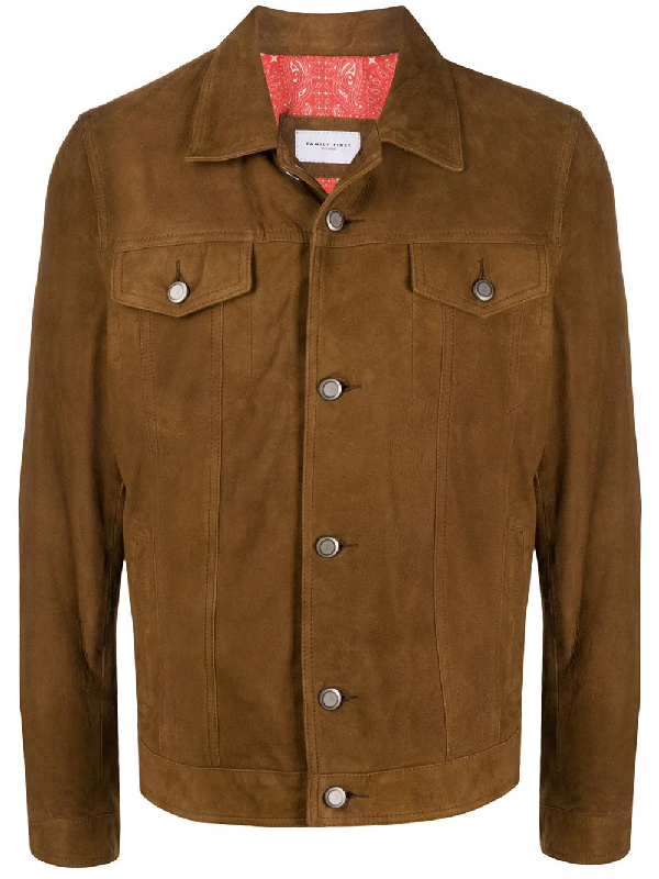 Family First Flap-pocket Shirt Jacket In Brown