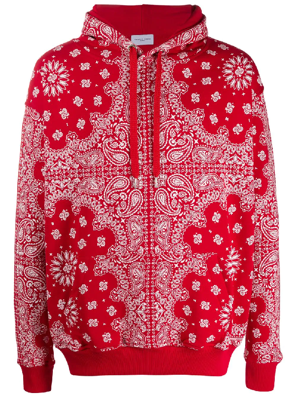 Family First Bandana Print Hoodie In Red