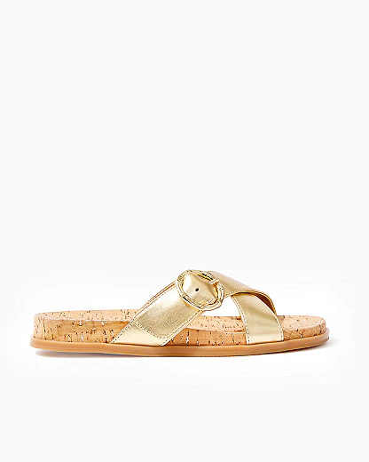 Lilly Pulitzer Bayshore Leather Slide Sandal In Gold Metallic